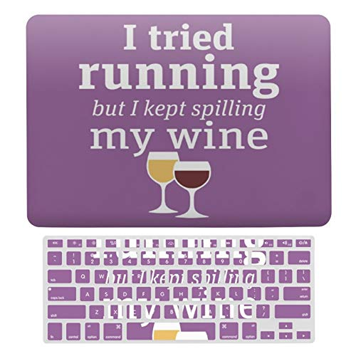 MacBook Air 13 Inch Case(A1369 & A1466, Older Version 2010-2017 Release), Plastic Hard Protective Laptop Case Shell with Keyboard Cover, Funny Wine Quote I Tried Running Kept Spilling