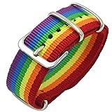 FANTESI Bracelet durable et respirant, motif arc-en-ciel 'LGBT Pride' - accessoire de mode sportif avec boucle classique en acier inoxydable et flexible