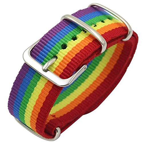 2 in 1 LGBT Regenbogen Armband auch verwendbar als Uhrenband,Lesbisch Gay Homosexuell Trans Schmuck Rainbow Farbig