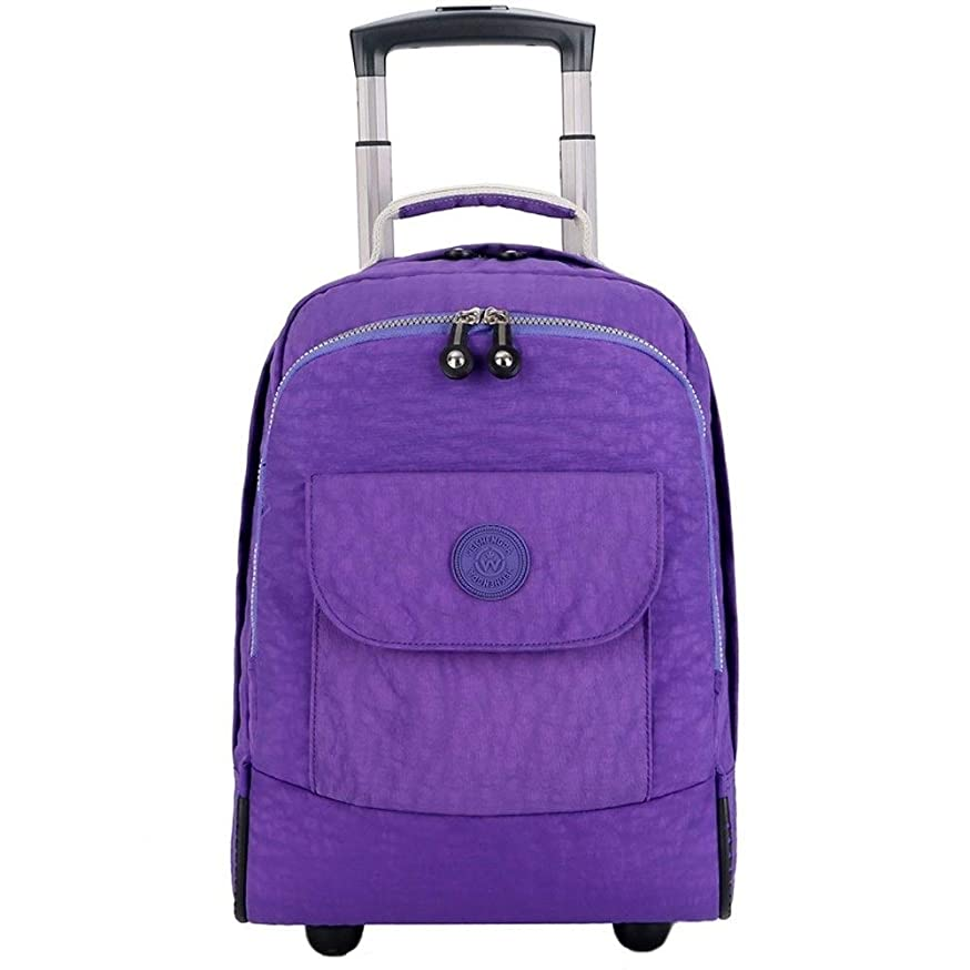 TYUIO Wheeled Backpack Large Rolling Waterproof School Laptop Book Bag Outdoor Daypack Travel Carry On Luggage Suitcase (Color : Purple)