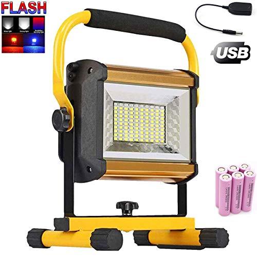 Foco LED Recargable, Luz de Construcción LED, 100W 8000 Lúmenes, Luz Portátil Para Trabajo de Noche, Lámpara Proyector LED Exterior, Luz de Trabajo para Camping, Pescado, Jardín, Patio(13200mAh)