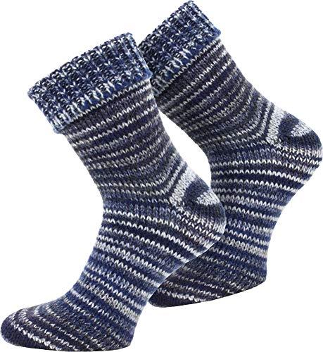 normani 2 Paar Wollsocken Skandinavien-Style wie handgestrickt, mit Umschlag für Damen & Herren Farbe Blau Größe 39/42