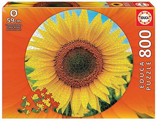 Educa 19034 Round Girasol. Puzzle Redondo de 800 Piezas. Ref, Multicolor