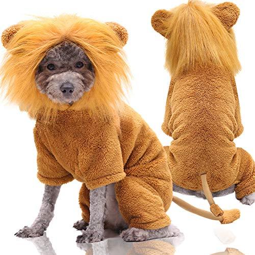 Bcela Winterkostüm für Katzen und Hunde, Halloween-Kostüm, Löwe, Korallen-Fleece, warme Kleidung für kleine Haustiere, lustige Partykleidung, Cosplay, Größe XXL