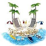 Odoukey Casa de muñecas en Miniatura Accesorios Beach Decoración del Paisaje de la Playa Micro con tumbonas Parasoles de la Palmera para el Verano 18PCS Muebles de jardín