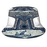 Yoliveya Sombrero de Pesca,Motivos del folclore escandinavo,Senderismo para Hombres y Mujeres al Aire Libre Sombrero de Cubo Sombrero para el Sol