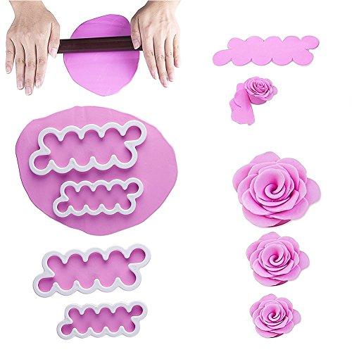 VALUE MAKERS 3x 3D più facili petali di rosa taglierina della torta della glassa DIY strumento Fiore attrezzi del fondente glassa che decora muffa Sugarcraft Set per una facile Fiori