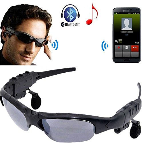 Vomoco 6T Bluetooth Sunglasses Headphones Stereo Wireless Sport Riding Song Call Ear Buds Earphone for All Smartphone Device (Random Colour)