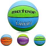 Meteor Palla Basket Pallone da Basket Palla da Basket Basketball - Taglia 3 - Dimensione Bambini & Giovani da Basket Ideale per Formazione Pallacanestro Layup (3, Blu Verde)