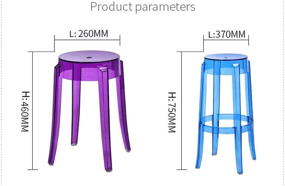 HiiGlife Tabouret Transparent Acrylique Cristal Tabouret Banc Empilable À Manger Chaise Changer Chaussure Banc Haut Tabouret (Color : Blue) Transparent