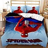 BLSM Parure de Lit Animé Spiderman 2/3 Pièces avec Housse de Couette pour Enfants,100% Microfibre,pour Enfant Fille Adultes Chambre et Appartements (K,200X200)