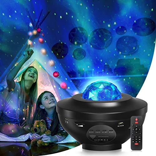 LED Sternenhimmel Projektor, Kinder Nachtlicht Lampe Sternenhimmel mit Musik/Fernbedienung/Bluetooth 5.0/3 Helligkeitsstufen/ 10 Lichtmodi, für Baby Erwachsene Zimmer Dekoration, Party Geschenk