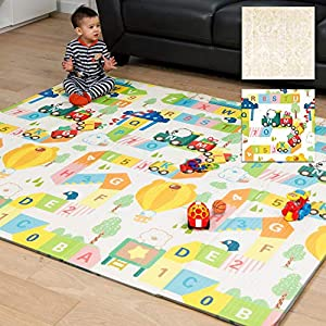 XdeModa Baby Play Mat & Exercise Mat – Extra Large Waterproof Foam Play Mat for Baby. Reversible & Foldable Design Large Foam Mat for Baby Crawling or Adults Yoga 79x71x0.6in