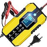 8A 12V/24V Cargador de Batería de Vehículo Inteligente Reparación Mantenimiento Batería Autos o Motos Función Vehículo Múltiples Modos y Protección con Pantalla LCD Batería de Plomo-ácido (Amarillo)