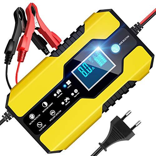 BURNNOVE Autobatterie Ladegerät 12V/24V 8A Vollautomatisches Batterieladegerät mit LED-Bildschirm und Reparaturfunktion ladegerät für Auto und Motorrad LKW