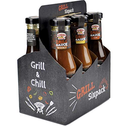 Altenburger Original Grill Sixpack, Grillsaucen Geschenkset mit sechs herrlich leckeren Grillsoßen, Mango, Curry, Whisky und mehr, ideales Grill Geschenk