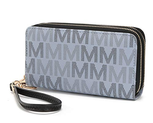 Mia K. Collection Handbag for Women Wallet Wristlet, Vegan Leather Bag - Double Zipper Multi Compartment Designer clutch Purse (Grey Hofstra)