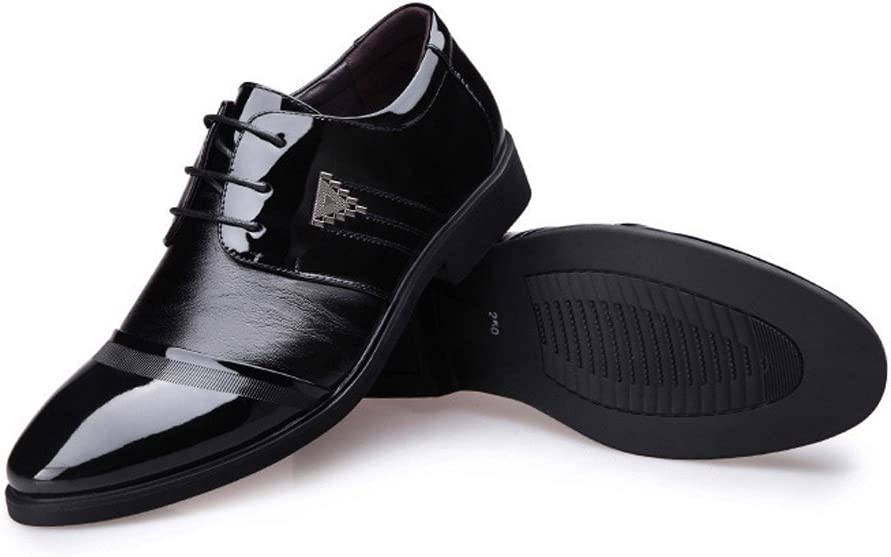 Mens Business Shoes Smooth PU Leather Splice Vamp Lace Up Lined Block Heel Driving Shoes Shoes Color : Black, Size : 7 M US