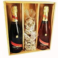 champagne mumm - cordon rouge /rosé & 2 * 150 grammi black nougadets - jonquier deux frères - in scatola di legno