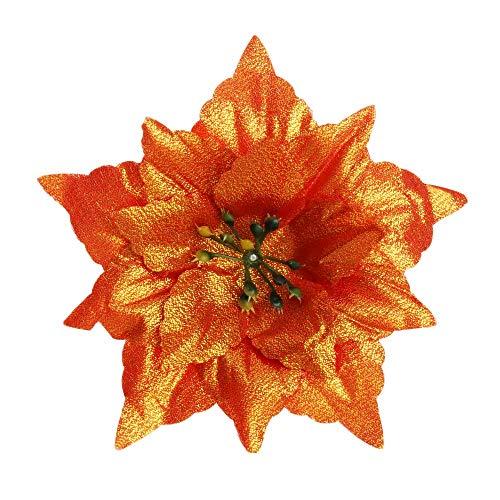 sffff 5pcs 14cm New Home Decoration Wedding Favors Artificial Decor Christmas Tree Flowers Poinsettia Hanging Ornament Xmas Gift(Orange)