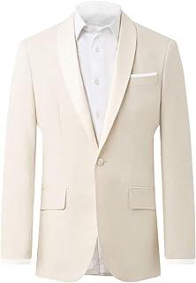 Dobell Mens Cream Linen Tuxedo Jacket Regular Fit Shawl