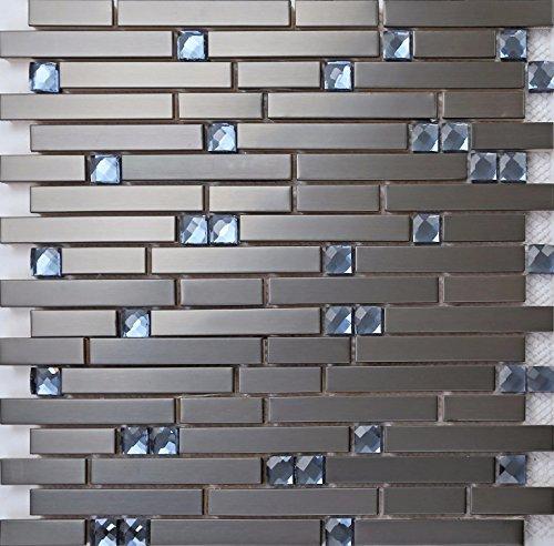 Grand Taps MT0136 - Foglio per mosaico, 11 fogli, 1 m2, in acciaio INOX e vetro blu a forma di mattone