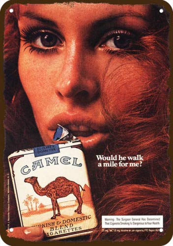 Laptopo 1973 Camel Vintage Look Replica Metal Sign Sexy Red-Head Woman Smokes Cigarettes