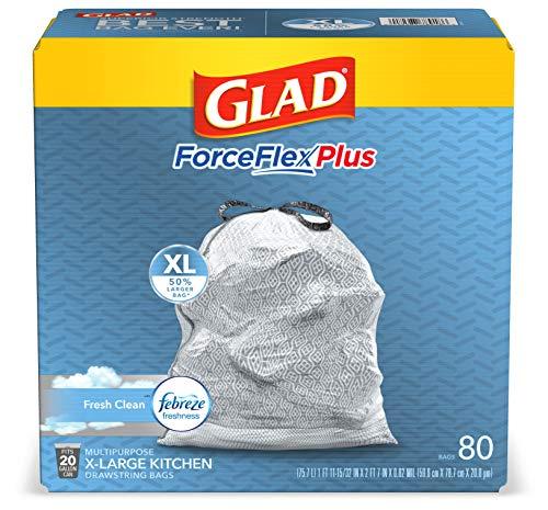 GLAD ForceFlexPlus XL X-Large Kitchen Drawstring Trash Bags - 20 Gallon Grey Trash Bag, Fresh Clean...