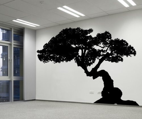 Stickerbrand Nature Asian Décor Vinyl Bonsai Tree Wall Decal Sticker #AC228m 48' x 73'. (Black) Easy to Apply & Removable.