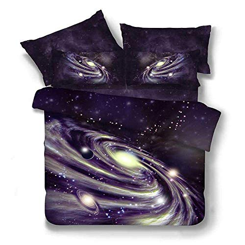 Duvet Cover Sets 3D Nebula Starry Sky Printing 3 Piece Set Bedding 100% Microfiber For Gifts (1 Duvet Cover + 2 Pillowcases) D-King(259x229cm)