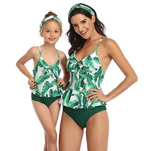 2 Stuks Meisje Bikini Set Moeder Dochter Badpakken Bijpassende Familie Badmode Off Schouder Ruches Badpak