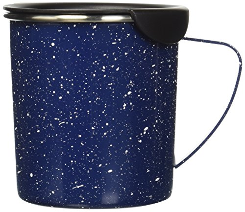 Copco Tin Cup Camping Style Stainless Steel Coffee Mug with Lid, 16-Ounce, Dark Blue