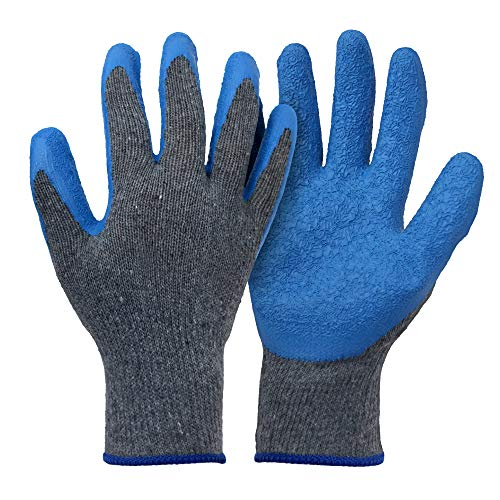 12 Pair Work Gloves for Men and Women, Rubber Latex Coated Construction Gloves