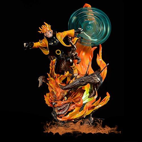 FIGURA DE ACCIÓN NARUTO, 13.4 pulgadas Uzumaki Naruto Garage Kit, Rikudou Sennin Modo, Spiral Gotatable Maru Shuriken Modeling, Luchando contra la postura de Kurama, PVC Anime Muñeca del hombre fresco