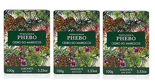 Linha Mediterraneo Phebo - Sabonete em Barra Cremoso Cedro do Marrocos 100 Gr - (Phebo Mediterranian Collection - Creamy Bar Soap Moroccan Cedar 3.5 Net Oz) by Phebo