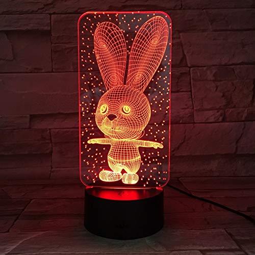QAZEDC 3D nachtlampje baby bedr lampen nachtlicht konijntje kunststof slee led kinderlamp nachtlicht voor kinderen met 7 kleuren wisselend (gratis verzending)