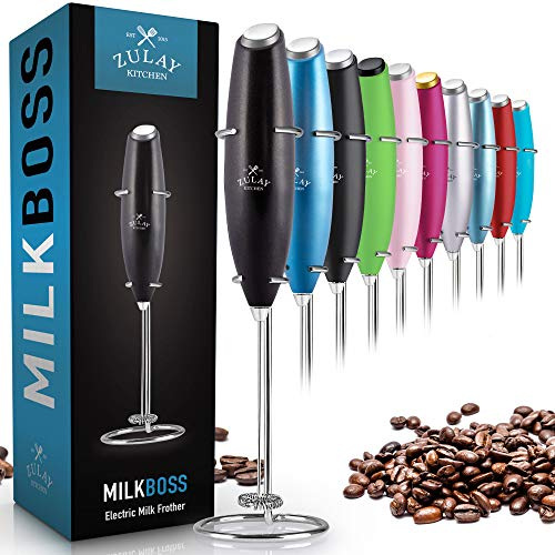 Zulay Original Milk Frother Handheld Foam Maker for Lattes  Whisk Drink Mixer for Bulletproof Coffee Mini Foamer for Cappuccino Frappe Matcha Hot Chocolate by Milk Boss Metallic Black