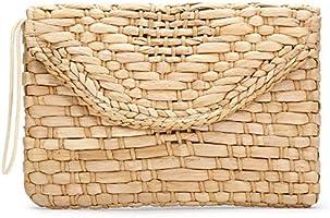 JOSEKO Bolso de paja para mujer con embrague de paja, sobre de mimbre Bolso de playa de verano para mujer