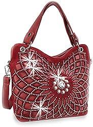 Burgundy Double Handle Starburst Bling Handbag