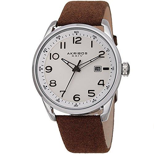 Akribos XXIV AK1029 - Reloj de Pulsera para Hombre, de Piel, Casual, de Gamuza, clásico, Redondo, analógico, de Cuarzo