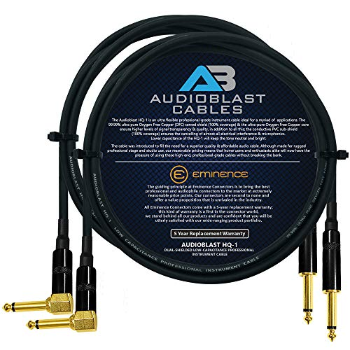 Audioblast - 2 Units - 2 Foot - HQ-1 - Ultra Flexible - Dual Shielded (100%) - Guitar Instrument Effects Pedal Patch Cable w/Eminence Straight & Angled Gold ¼ inch (6.35mm) TS Plugs & Double Boots