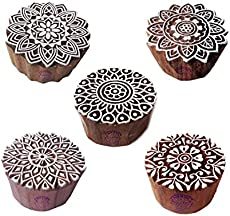 Artistic Motif Round and Mandala Block Print Wood Stamps (Set of 5)