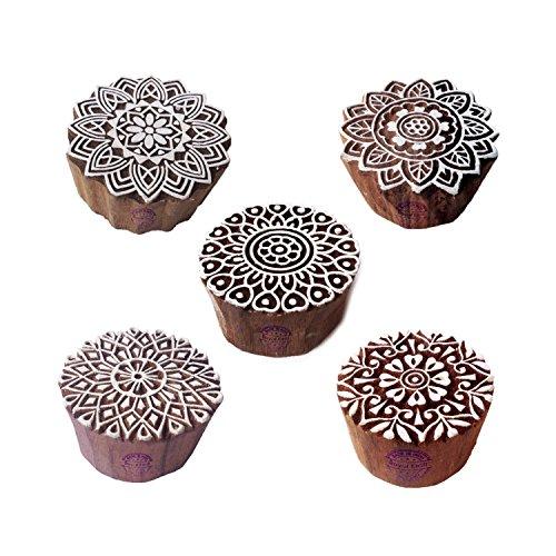 Royal Kraft Indisch Designs Runden und Mandala Blöcke Drucken Holz Stempel (Set von 5)