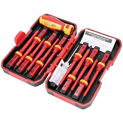 Nephit Set di 13 cacciaviti isolati Vde Cr-V ad alta tensione 1000 V, magnetici, Phillips, Torx a taglio lungo, utensili a mano