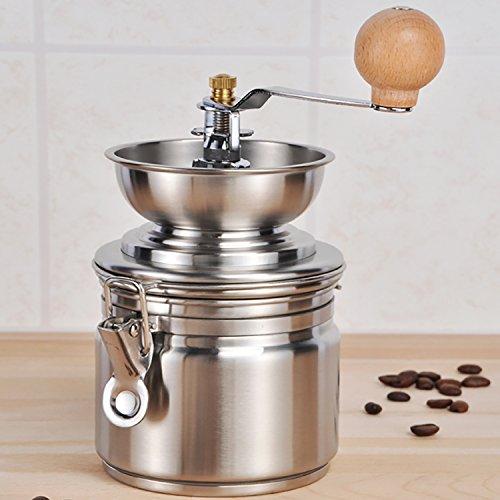 Roestvrijstalen koffiemolen, espressomolen met keramische kegelmolen, Ø10 x H21 cm, maalgraad instelbaar