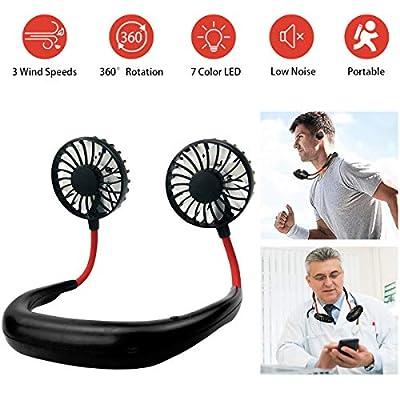 YIWEI Personal Fan Hanging Neck Fan Portable Neck Sports Fans USB Rechargeable Personal Wearable Fan Battery Operated Fan ,Premium Headphone Design Mini Neckband Fan for Travel Outdoor Office Home Sports from YIWEI