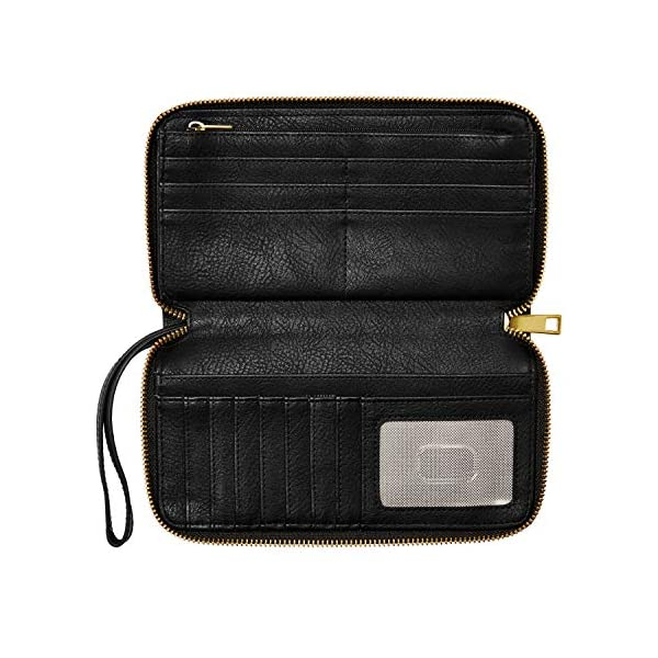 Fossil Women's Liza Leather Zip Around Clutch Wallet With Retractable Wristlet Strap 4