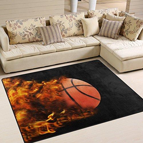 Domoko Basketball in Full Speed Fire Hinter Bereich Teppich Teppiche Matte für Wohnzimmer Schlafzimmer, Textil, mehrfarbig, 160cm x 122cm(5.3 x 4 feet)