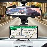 Soporte para teléfono móvil de Coche con Montaje de Espejo retrovisor, Soporte Universal para teléfono para Coches. Útil para GPS. Rotación 360º