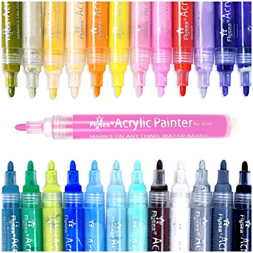 Acrylic Paint Marker Pens,drying quickly Paint Pens for Rocks Painting,Stone, Wood, Glass, Ceramic, Fabric, Canvas, Mugs, DIY Craft Making Supplies...